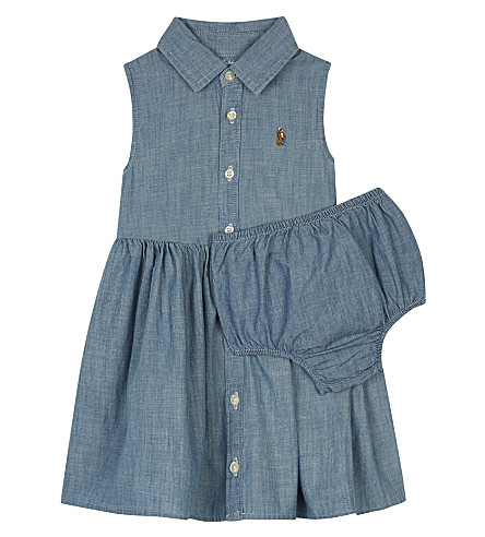 RALPH LAUREN Chambray sleeveless shirt dress 3-24 months (Quincy+wash