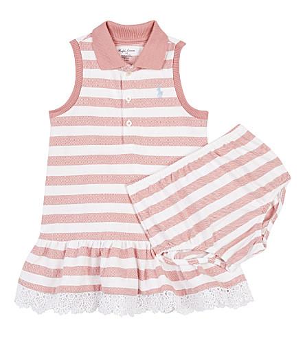 RALPH LAUREN Striped cotton polo drop hem dress & underwear 3-24 months (Salmon+berry/wh