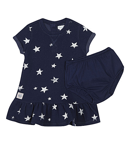 RALPH LAUREN Star cotton dress & briefs 3-24 months (Blue/white+mult