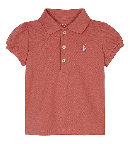 RALPH LAUREN Logo cotton polo shirt 3-24 months (Shrimp