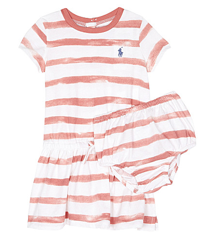 RALPH LAUREN Pony striped cotton dress 3-24 months (Salmon+berry/wh