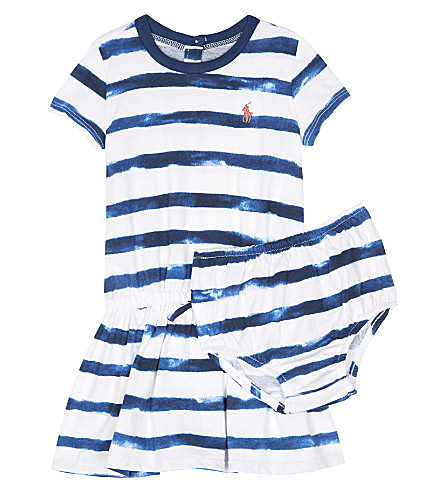 RALPH LAUREN Pony striped cotton dress 3-24 months (Indigo+blue/whi