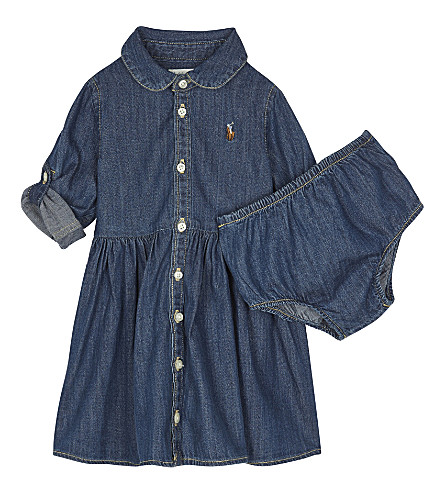 RALPH LAUREN Denim dress & underwear set 6-24 months (Indigo