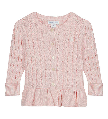 RALPH LAUREN Pony cable-knit cotton cardigan 3-24 months (Powder+pink