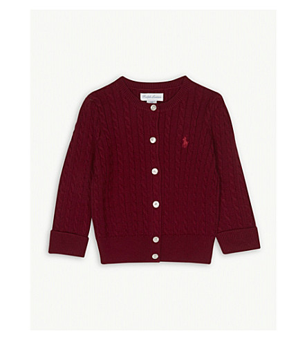 RALPH LAUREN Cable knit cotton cardigan 3-24 months (Holiday+red