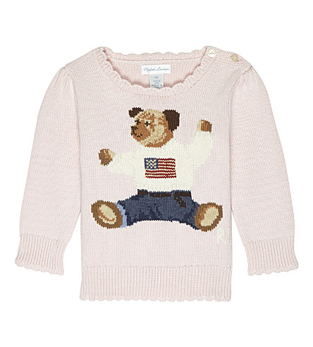 RALPH LAUREN Teddy bear cotton jumper 6-24 months (Powder+pink