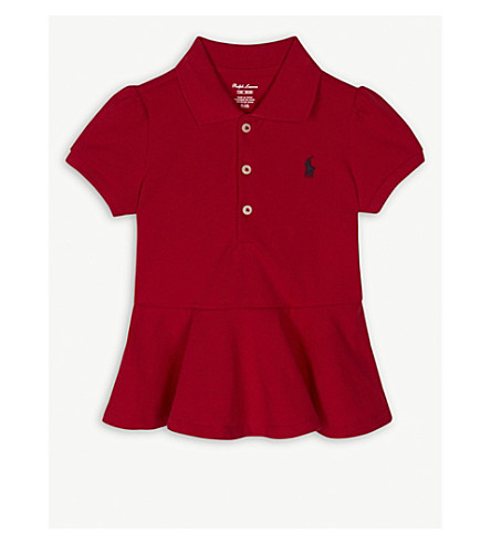 RALPH LAUREN Brand embroidered cotton peplum polo shirt 3-24 months (Rl2000+red