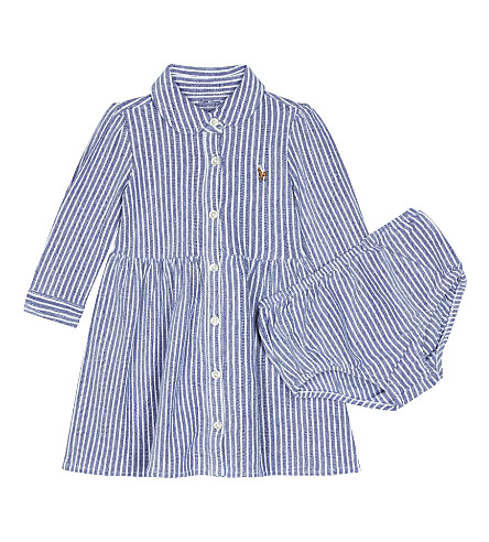 RALPH LAUREN Striped cotton shirt dress 3-24 months (Fall royal/white