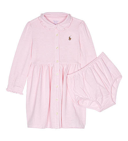 RALPH LAUREN Logo polo dress and knickers set 6-24 months (Carmel+pink/whi