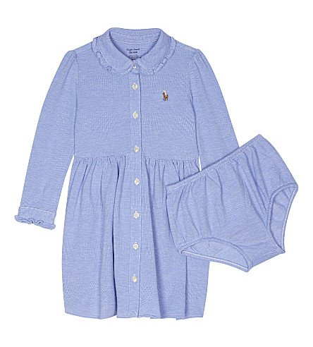 RALPH LAUREN Logo polo dress and knickers set 6-24 months (Harbor+island+b