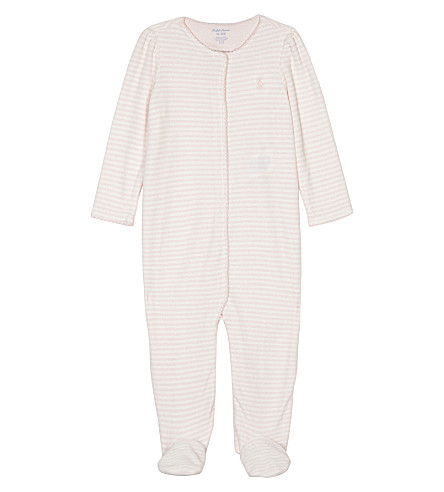RALPH LAUREN Striped velour baby-grow 0-9 months (Morning+pink/wh