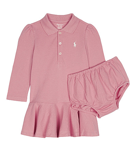 RALPH LAUREN Logo polo dress and knickers set 3-24 months (Rugby+pink