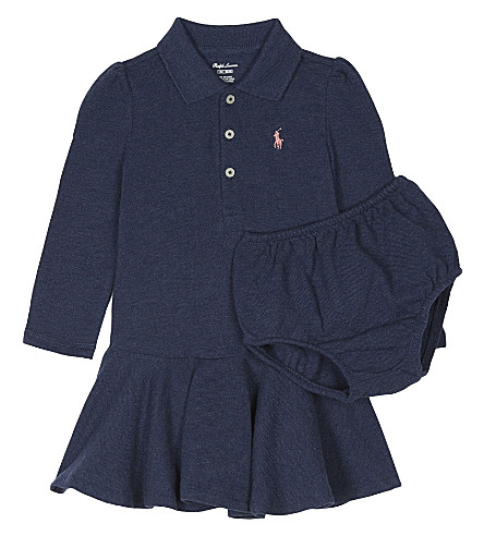 RALPH LAUREN Logo cotton dress and under shorts (Indigo+blue+hea