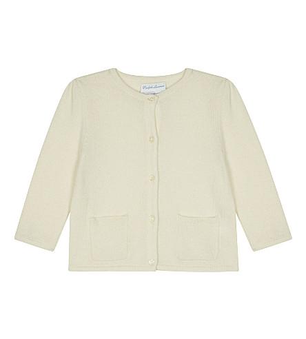 RALPH LAUREN Bow-trim wool cardigan (Olympia+cream