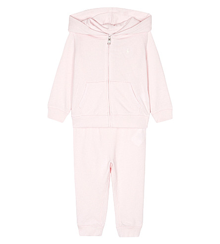 RALPH LAUREN Polo cotton tracksuit set 6-24 months (Morning+pink