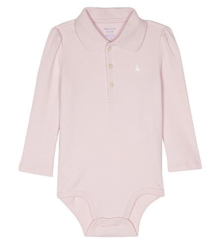 RALPH LAUREN Logo cotton babygrow 3-12 months (Hint+of+pink