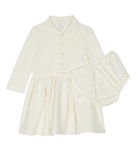 RALPH LAUREN Logo cotton polo dress and underwear 3-24 months (Olympia+cream