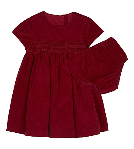 RALPH LAUREN Corduroy dress and knicker set (Holiday+red