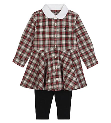 RALPH LAUREN Tartan cotton dress and leggings set 9-24 months (Red+tartan