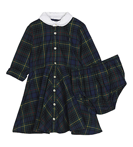 RALPH LAUREN Tartan cotton shirt dress 9-24 months (Woodland+tartan