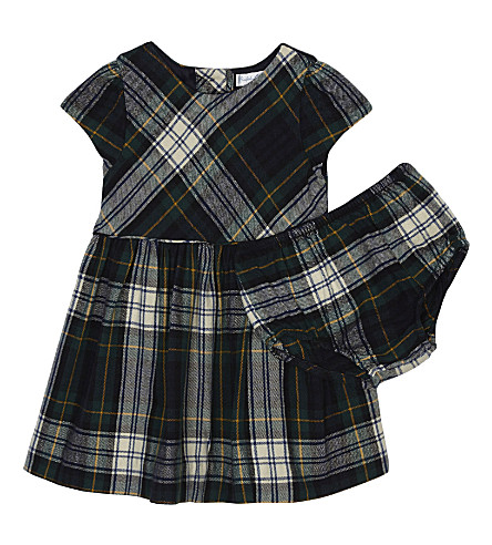 RALPH LAUREN Tartan cotton dress and knickers set 3-24 months (Gordon+tartan