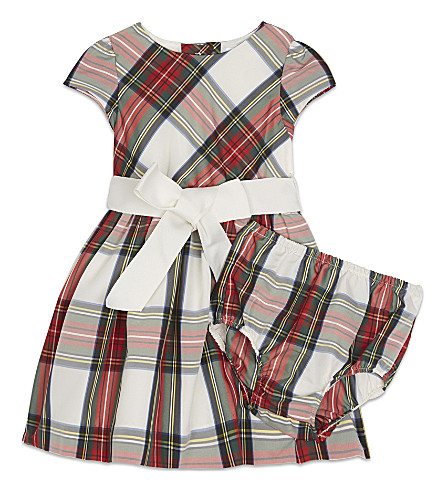 RALPH LAUREN Fit and flare tartan dress 3-24 months (Regal+tartan