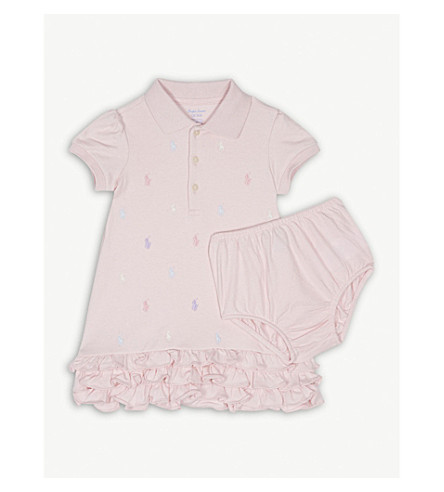 RALPH LAUREN Polo ruffled cotton dress 3-24 months (Hint+of+pink