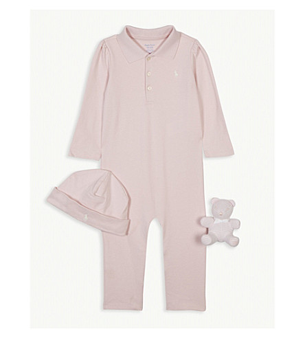 RALPH LAUREN Cotton baby grow gift set 3-6 months (Hint+of+pink