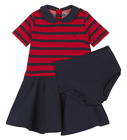 RALPH LAUREN Pony striped A-line dress 3-24 months (Red/hunter navy