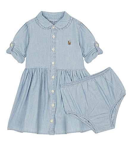 RALPH LAUREN Chambray cotton dress and knickers set 3-24 months (Indigo