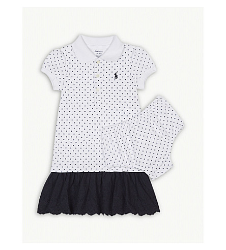 RALPH LAUREN Polka dot polo dress and knickers set 3-24 months (White/navy