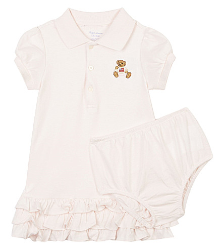 RALPH LAUREN Bear frilled hem cotton polo dress 3-24 months (Delicate+pink