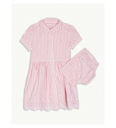 RALPH LAUREN Striped cotton dress and underwear 3-24 months (Pink/white