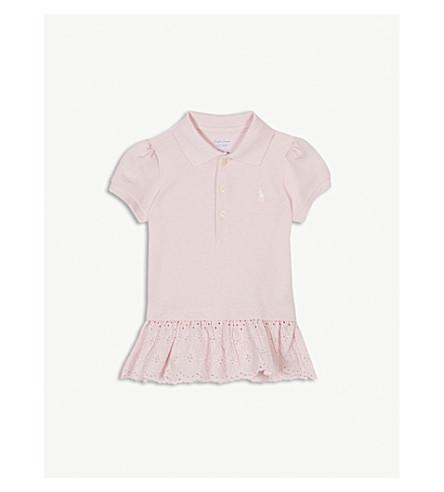 RALPH LAUREN Eyelet-hem cotton-blend polo shirt 3-24 months (Hint+of+pink
