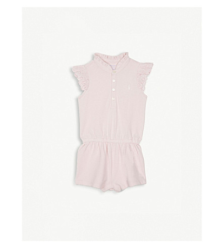 RALPH LAUREN Lace sleeve cotton romper 3-24 months (Hint+of+pink