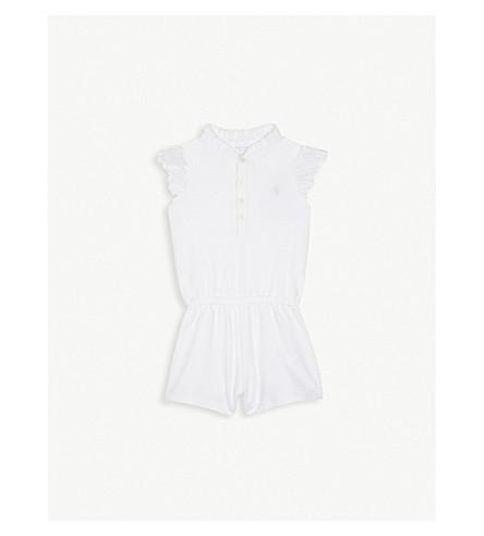 RALPH LAUREN Lace sleeve cotton romper 3-24 months (White