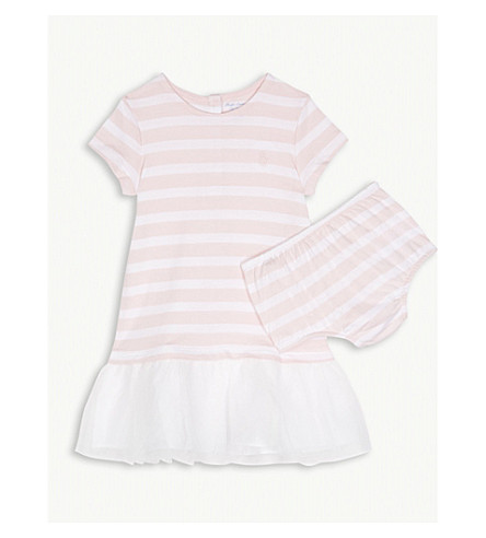 RALPH LAUREN Tulle striped cotton-blend dress and underwear 3-24 months (Pink/white
