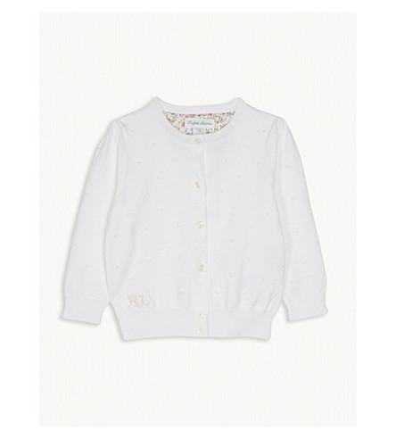 RALPH LAUREN Bobbled cotton cardigan 3-24 months (White
