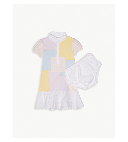 RALPH LAUREN Patchwork cotton dress 3-24 months (Pink+multi