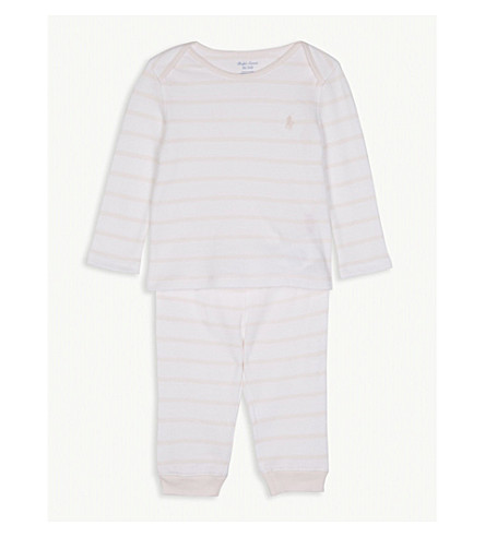 RALPH LAUREN Striped cotton top and leggings set 3-9 months (Pink/white