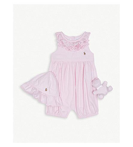 RALPH LAUREN Ruffled cotton bodysuit gift set 3-12 months (Deco+pink