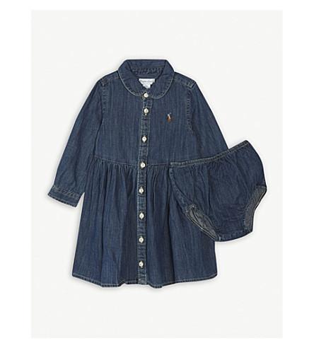 RALPH LAUREN Ralph Lauren chambray long sleeve shirt dress 12 months (French+navy