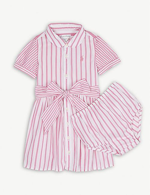 RALPH LAUREN Cotton stripe dress and bloomer set 3-24 months 5b8015a66