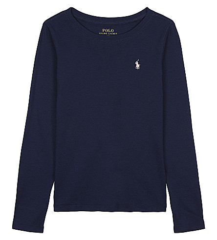 RALPH LAUREN Logo cotton & modal long-sleeved top 2-6 years (Newport+navy