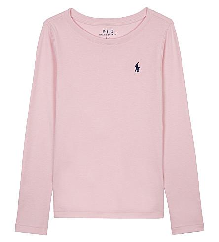 RALPH LAUREN Pony cotton-modal long-sleeved T-shirt 2-6 years (Carmel+pink