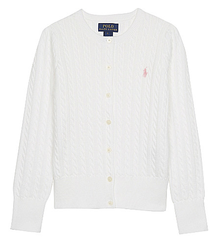 RALPH LAUREN Cable knit cotton cardigan 2-6 years (White