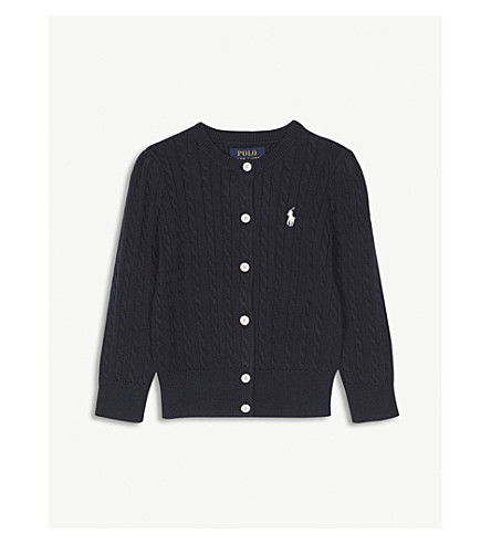 RALPH LAUREN Cable-knit cotton cardigan 2-4 years (Hunter+navy
