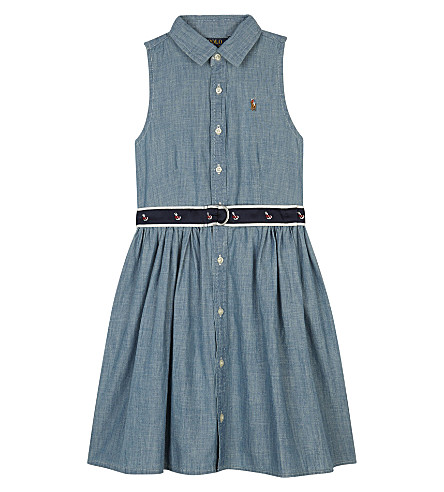 RALPH LAUREN Chambray sleeveless shirt dress 2-6 years (Indigo