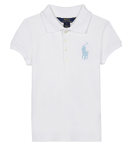 RALPH LAUREN Large logo cotton-blend polo shirt 2-6 years (White