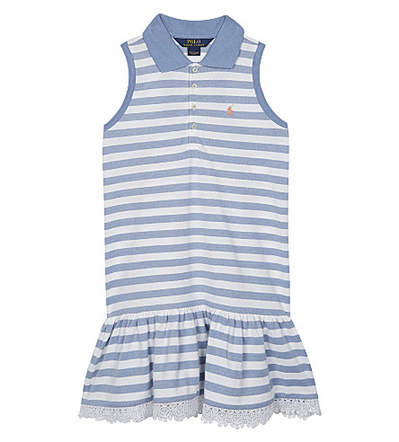 RALPH LAUREN Striped cotton polo drop hem dress (French+blue/whi